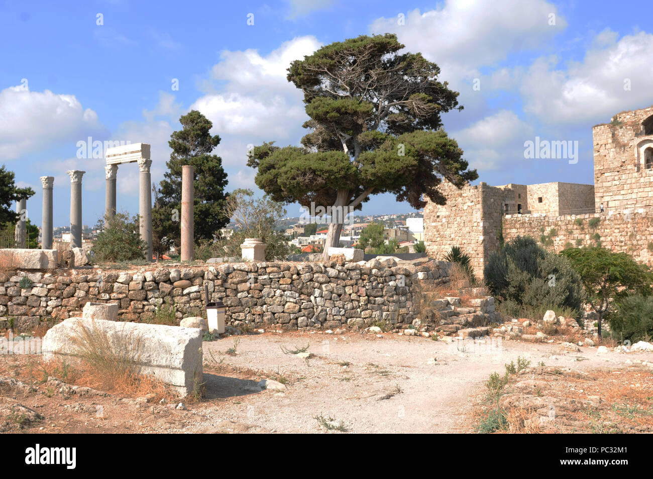 Lebanon: The historic village Byblos with the castle and the Amphitheater has an old history that goes back to five thousen years b.c. - Stock Image
