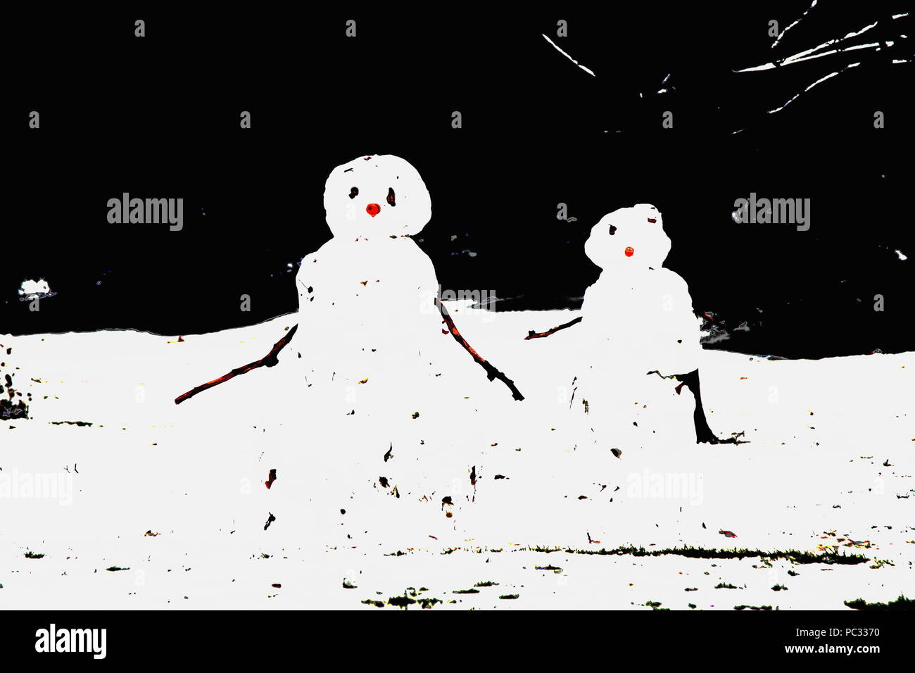 A modern seasonal abstract scene with cute snowmen.Snowman Snow Christmas card. Snow people . Snowman and snow woman. Black background. Red nose. Seasons greetings. Artwork for cards. Twigs for arms. Snow couple. Photo credit Russell Moore. - Stock Image