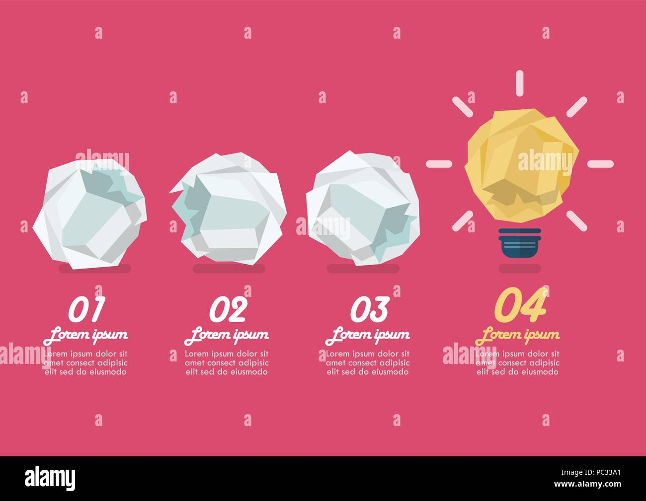 crumpled paper light bulb with crumpled paper balls. vector