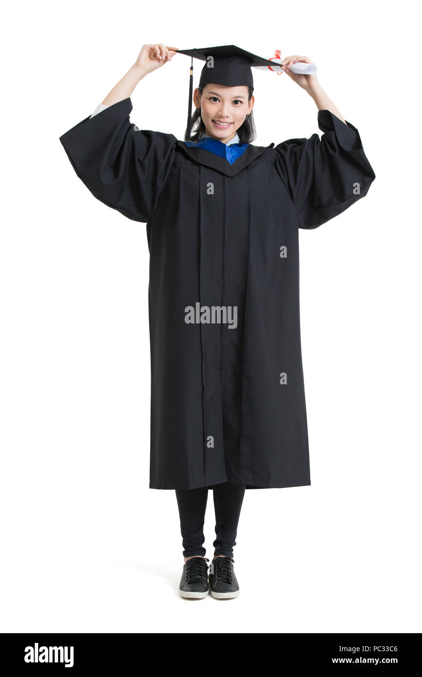 Happy college graduate in graduation gown Stock Photo: 213968838 - Alamy