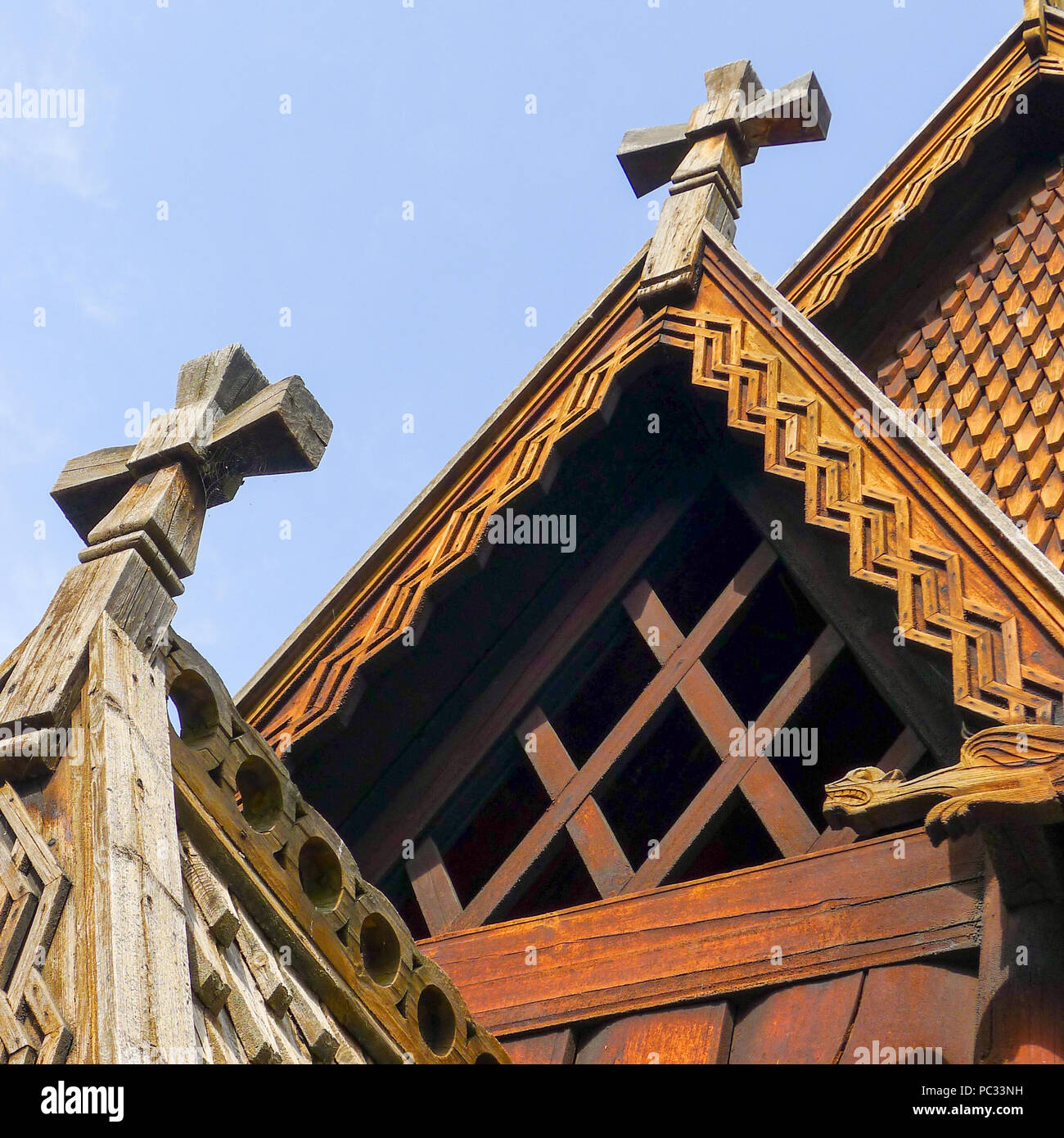 Detail of the roof of the Stave Church from Gol located at the Norsk Folkemuseum in Oslo, Norway. - Stock Image