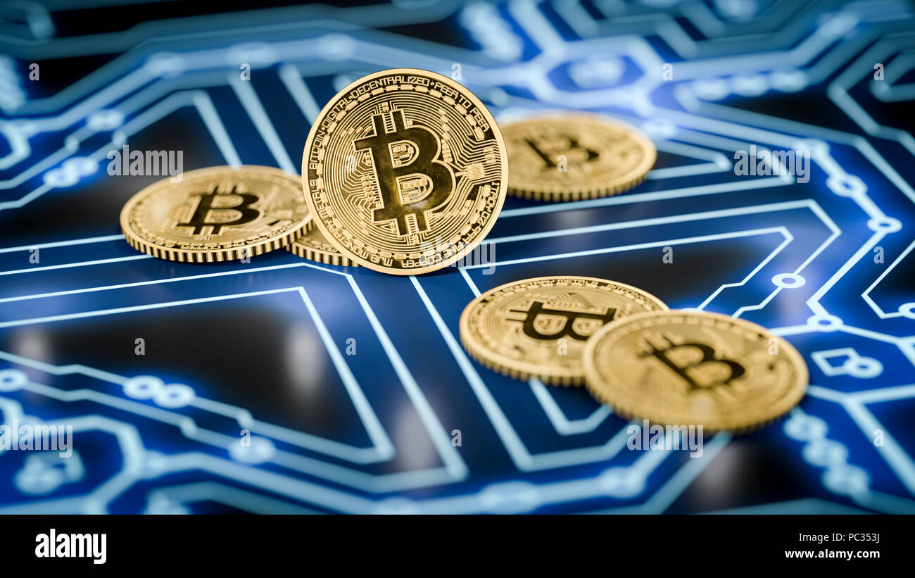 3d rendering of a some bitcoin coins on a dark electronic background - Stock Image