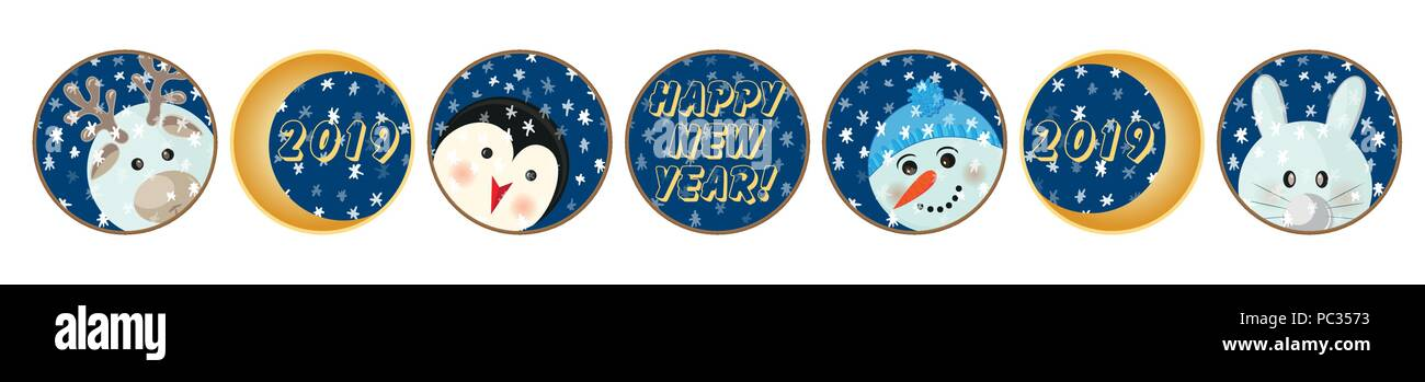 animal cartoon flat set labels print winter new year theme great design for 2019 calendar christmas sticker icon happy birthday party fun card