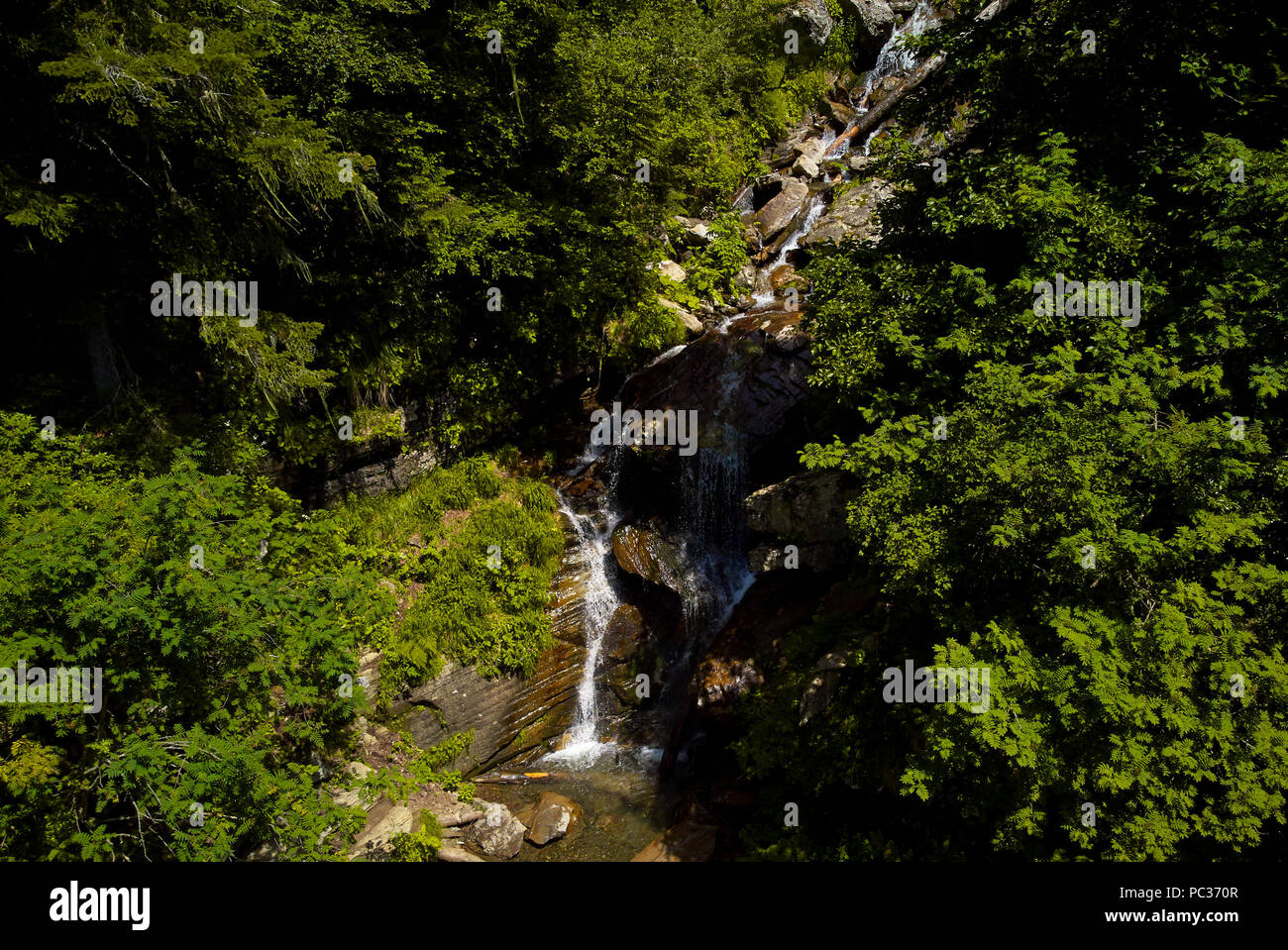 top view of the waterfall - Stock Image