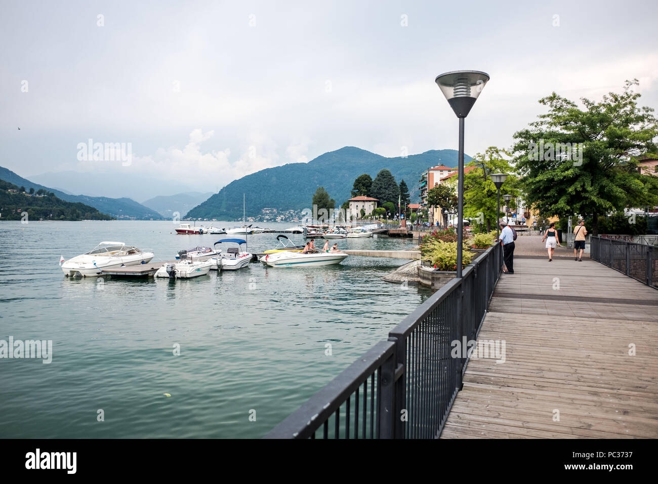 Porto Ceresio is a comune (municipality) on Lake Lugano in the Province of Varese in the Italian region Lombardy, located about 50 kilometres (31 mile Stock Photo