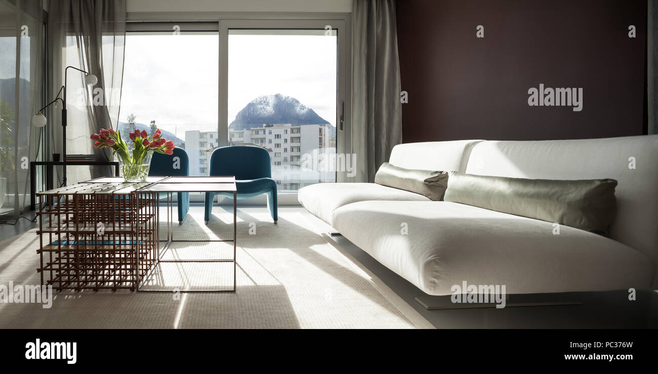 Luxury apartment, comfortable living room with modern ...