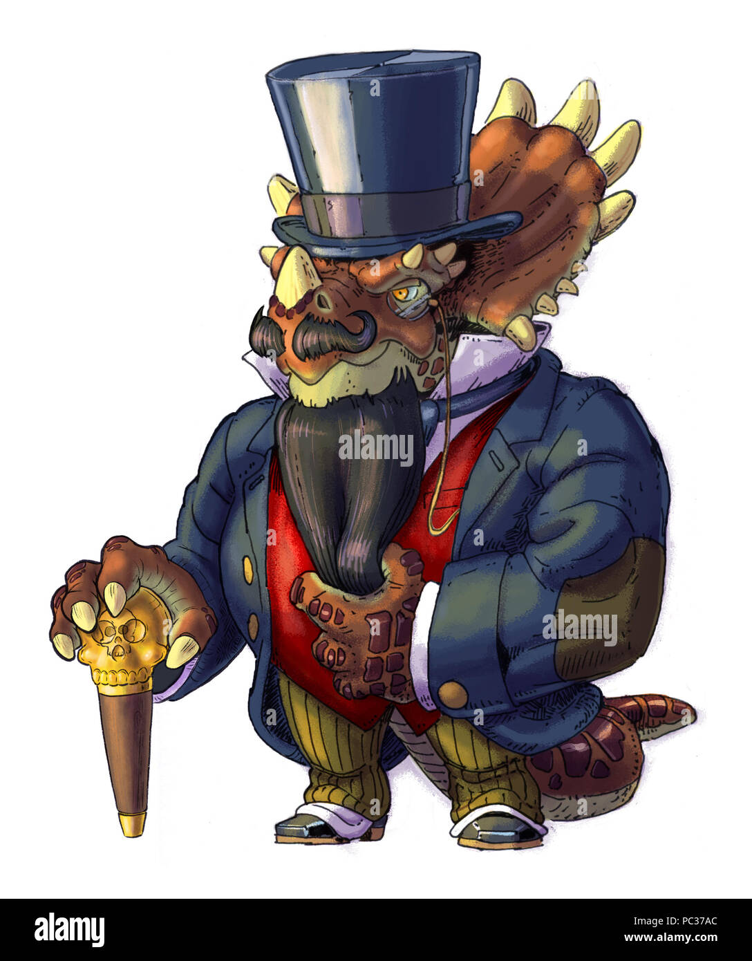 Hand drawn cartoon clip art illustration of an anthropomorphic steampunk Styracosaurus dinosaur wearing Victorian clothes with a beard, top hat, and a - Stock Image