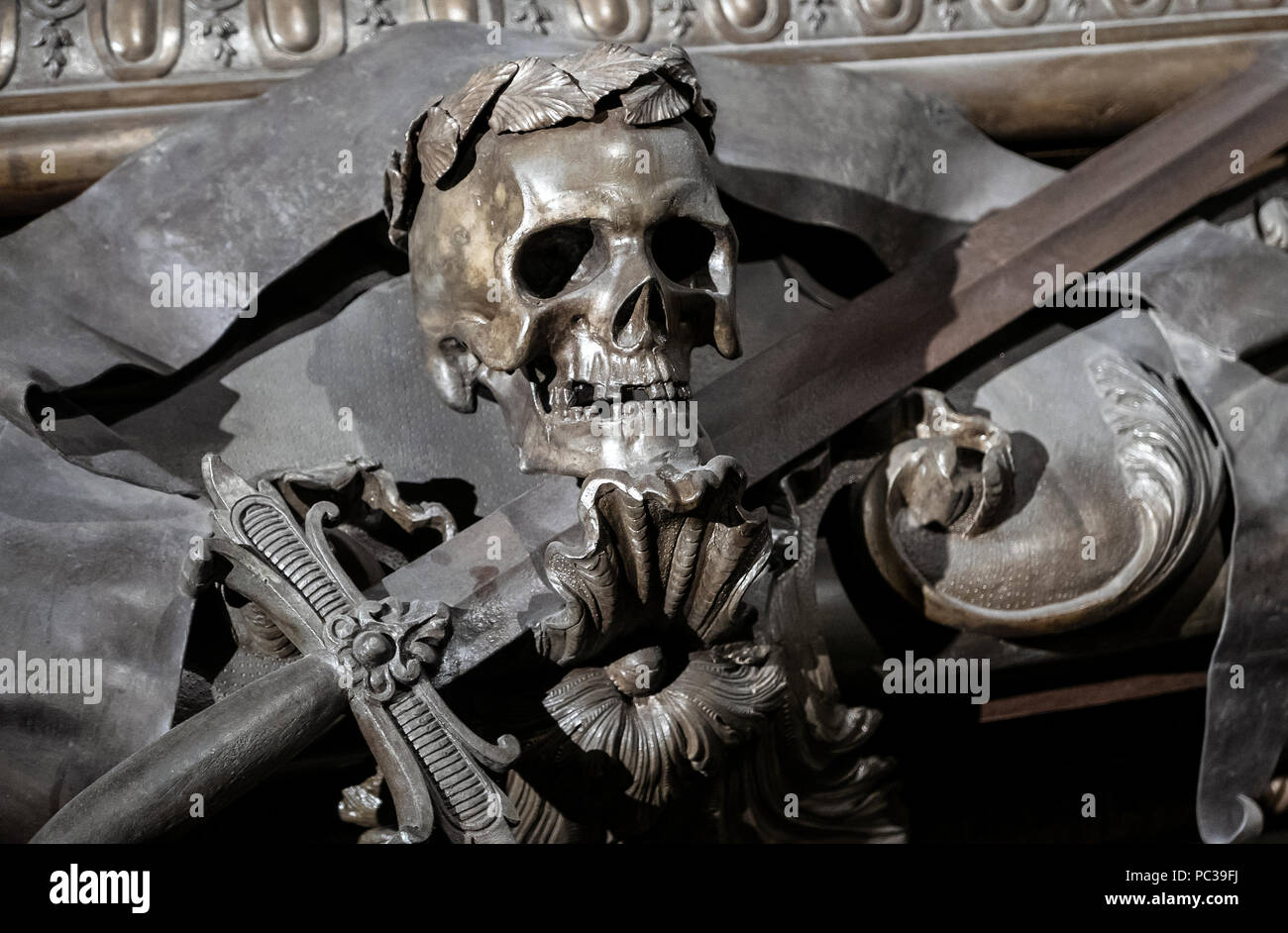 Tod in der Kaisergruft, Wien. Leopold1. Since 1633, the Imperial Crypt has been the principal place of entombment for members of the House of Habsburg - Stock Image