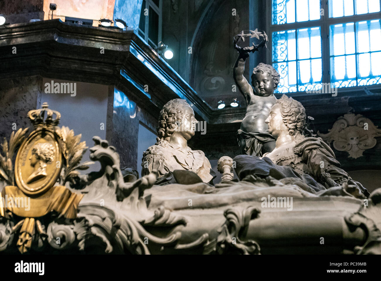 Entombment of Maria Theresa & Franz1. Since 1633, the Imperial Crypt has been the principal place of entombment for members of the House of Habsburg - Stock Image