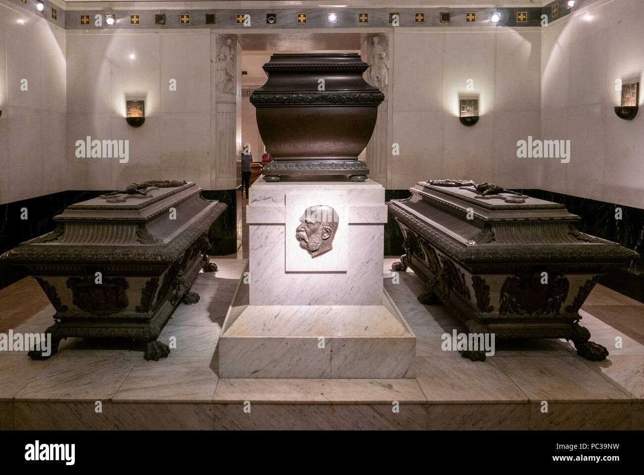 Franz Joseph(center)Vault. Since 1633, the Imperial Crypt has been the principal place of entombment for members of the House of Habsburg - Stock Image