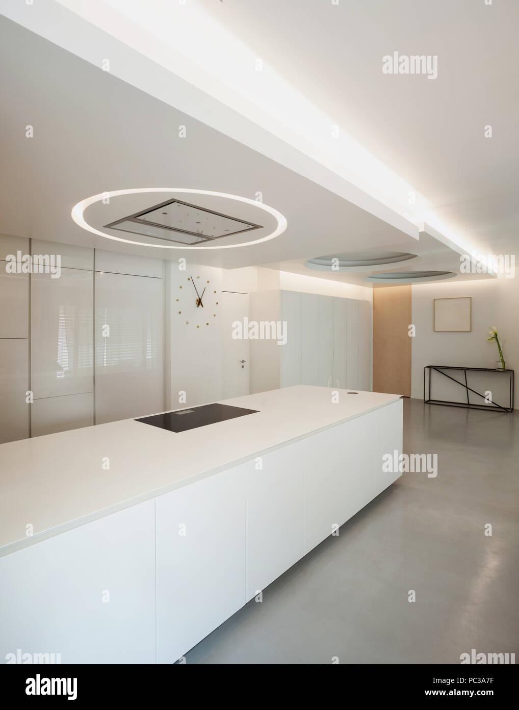Luxury Apartment White Kitchen In Modern Style Stock Photo Alamy