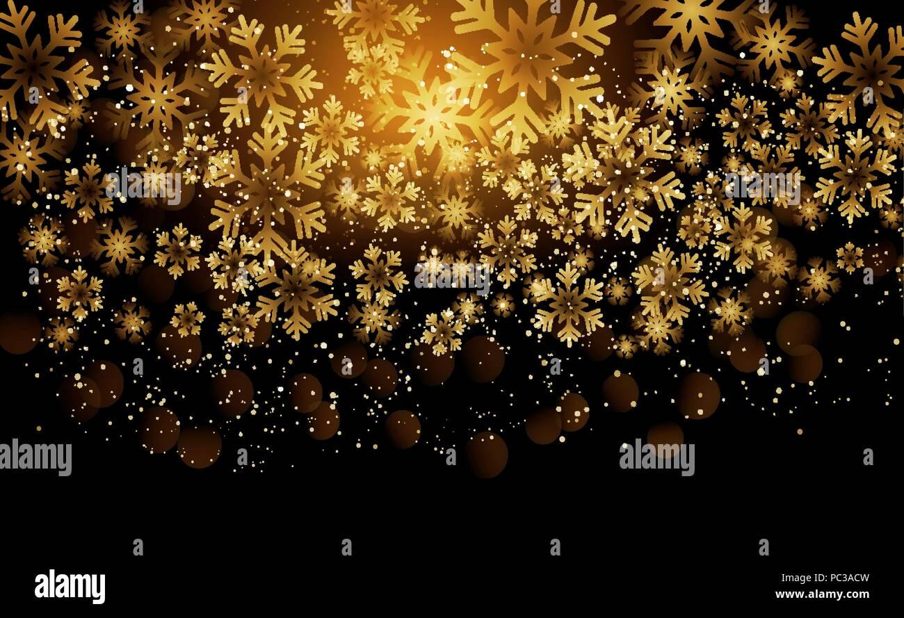Elegant Christmas Background With Snowflakes Stock Vector: Elegant Christmas Background With Shining Gold Snowflakes