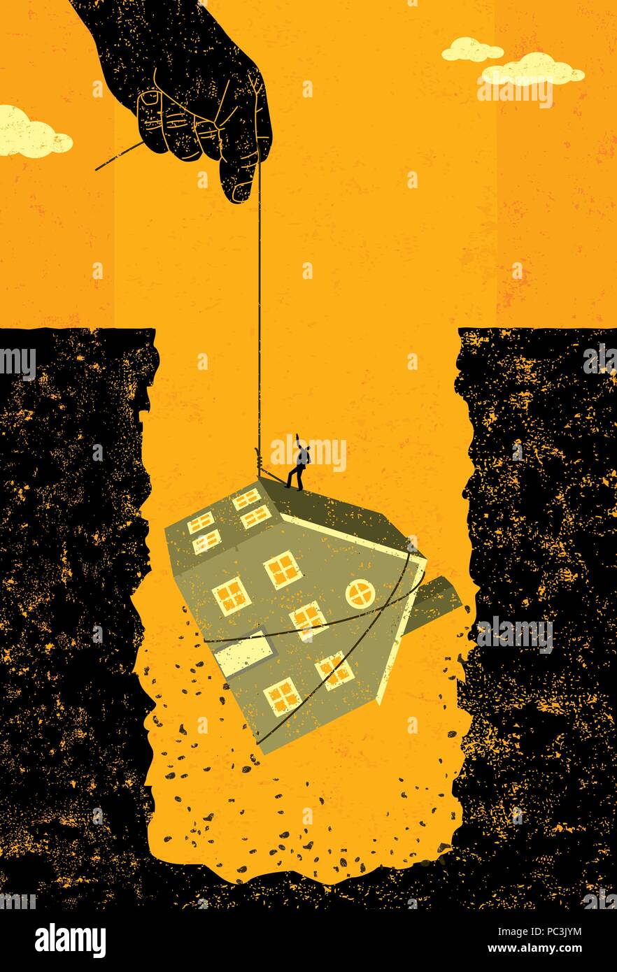 Home mortgage debt bailout A large hand offering financial assistance by lifting a man and his house out of the huge hole of debt created by the housi - Stock Vector