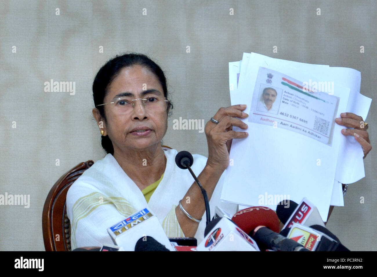 Howrah, India. 30th July, 2018. West Bengal Chief Minister Mamata Banerjee address a press conference over the final National Register of Citizen or NCR draft of Assam released today. Credit: Saikat Paul/Pacific Press/Alamy Live News Stock Photo