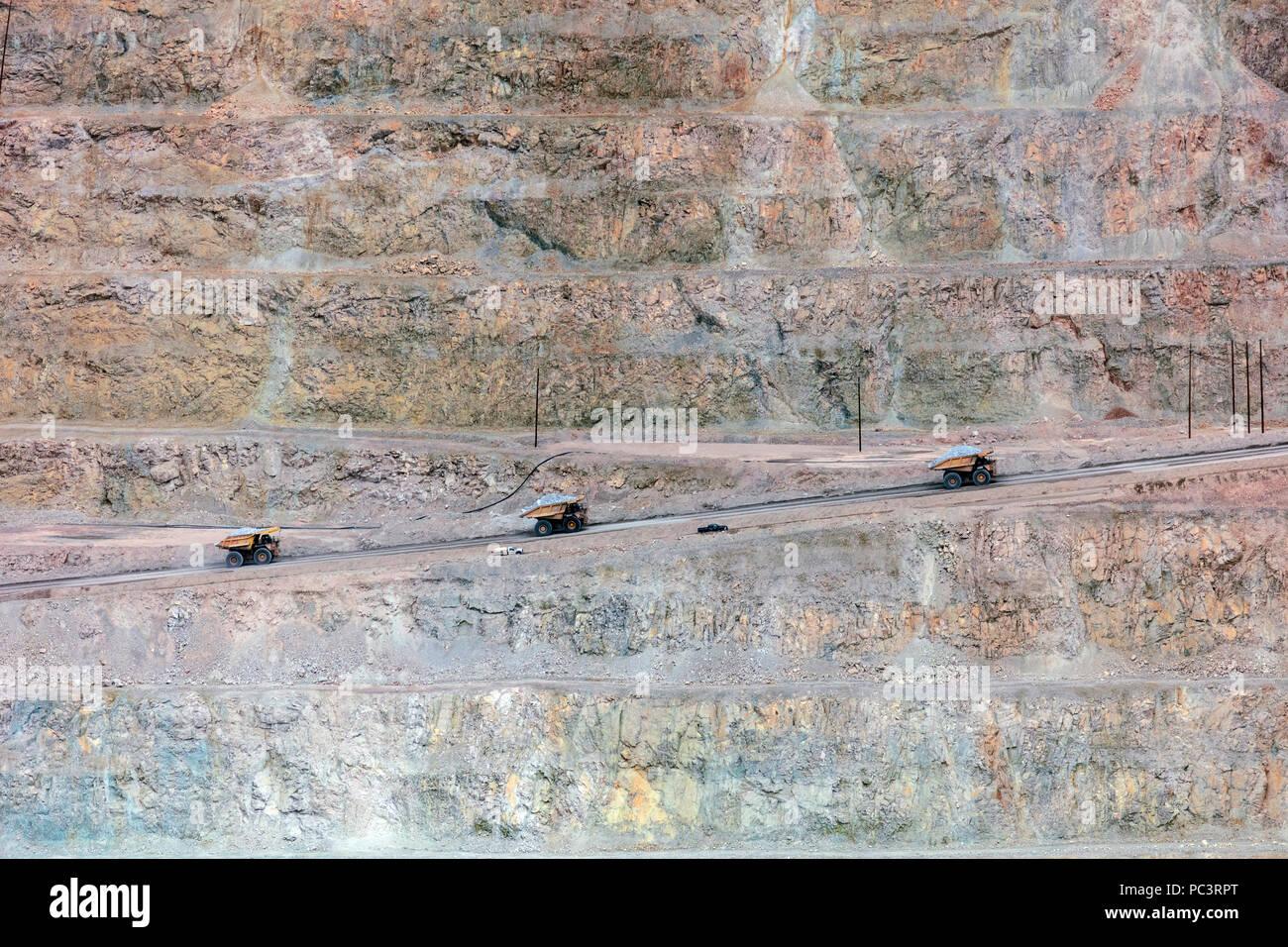 Massive Mining Dump Trucks - Morenci Copper Mine, Arizona  Largest Copper mine in North America - Stock Image
