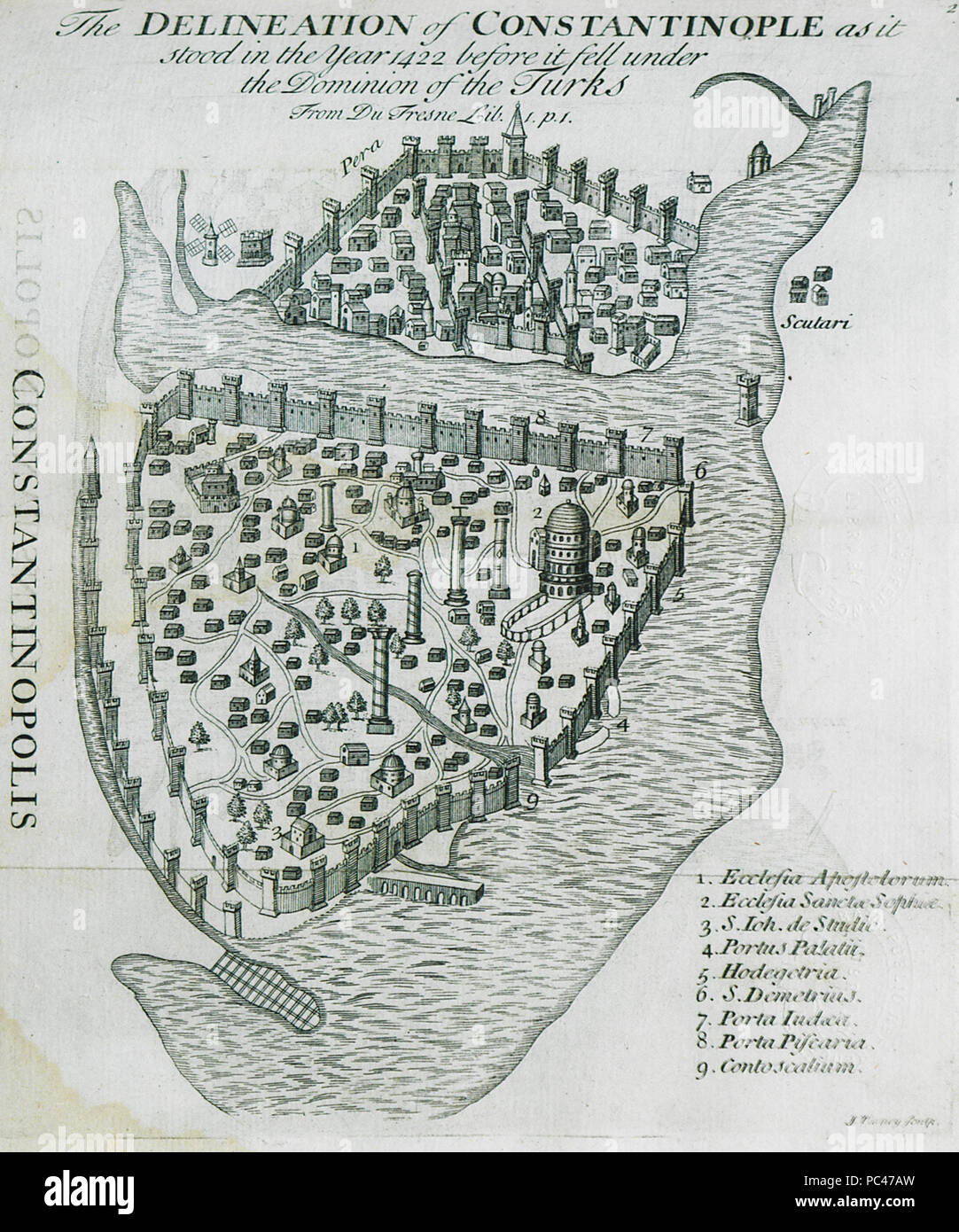 594 The delineation of Constantinople, as it stood in the year 1422 before it fell under the dominion of the Turks From du F - Gilles Pierre - 1729 - Stock Image