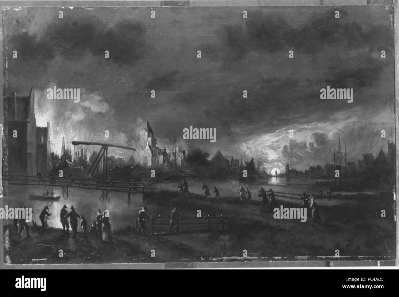 Aert van der Neer (Kopie nach) - Feuerbrunst bei Vollmond - 6294 - - Stock Image