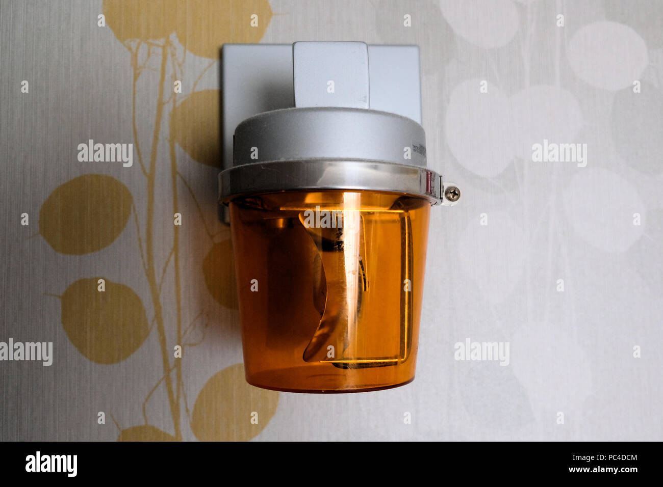 Fire alarm alert system in hotel room. - Stock Image