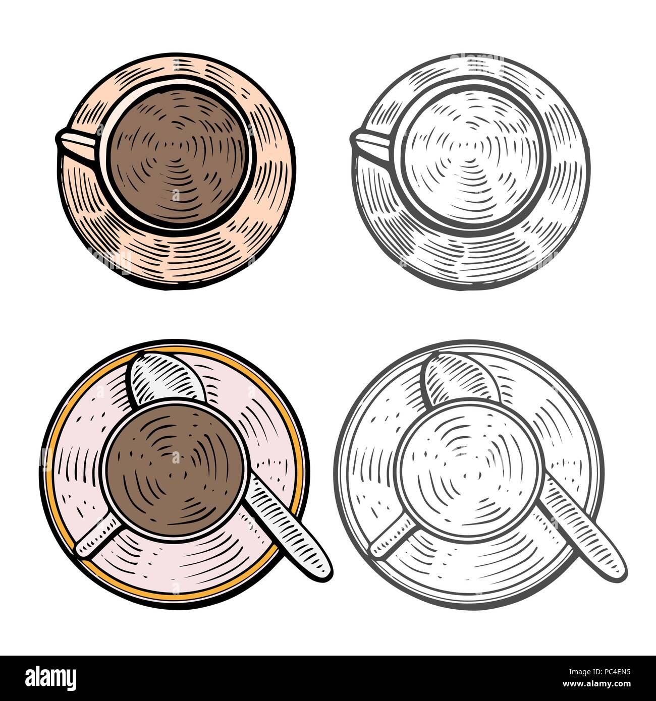 hand drawn. Cups with hot coffee, tea or cocoa beverages. Colorful design template. - Stock Vector