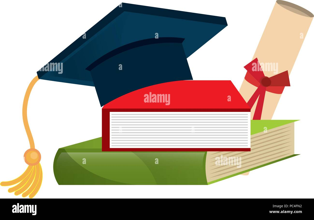 graduation hat with books and diploma - Stock Image