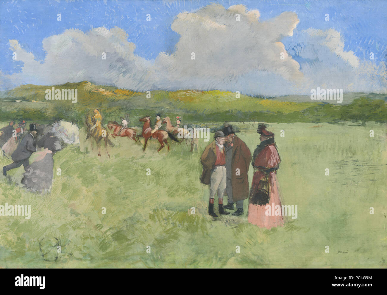 Jean-Louis Forain (French, 1852 - 1931 ), The Race Track, c. 1891, oil on canvas, Collection of Mr. and Mrs. Paul Mellon 599 The Race Track A12294 - Stock Image