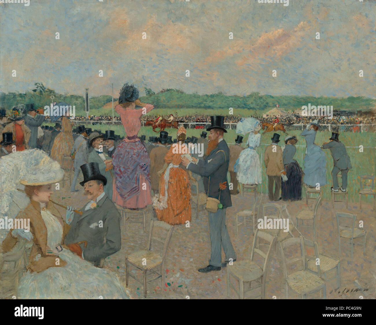 Jean-Louis Forain (French, 1852 - 1931 ), The Races at Longchamp, c. 1891, oil on canvas, Collection of Mr. and Mrs. Paul Mellon 2014.18.62 599 The Races at Longchamp A29524 - Stock Image