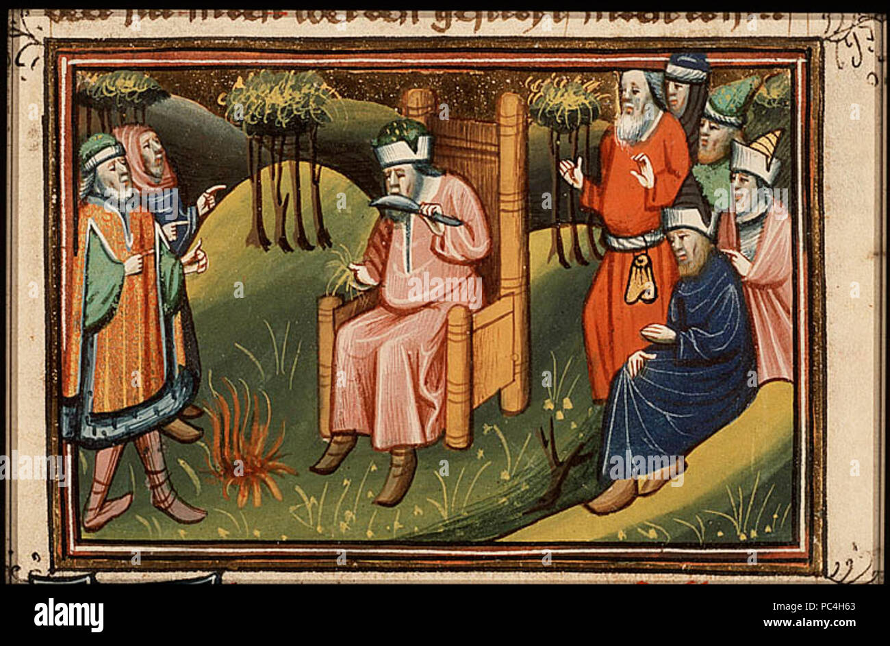 602 The-prophet-ezekiel-cuts-off-his-hair-and-beard-and-burns-it - Stock Image