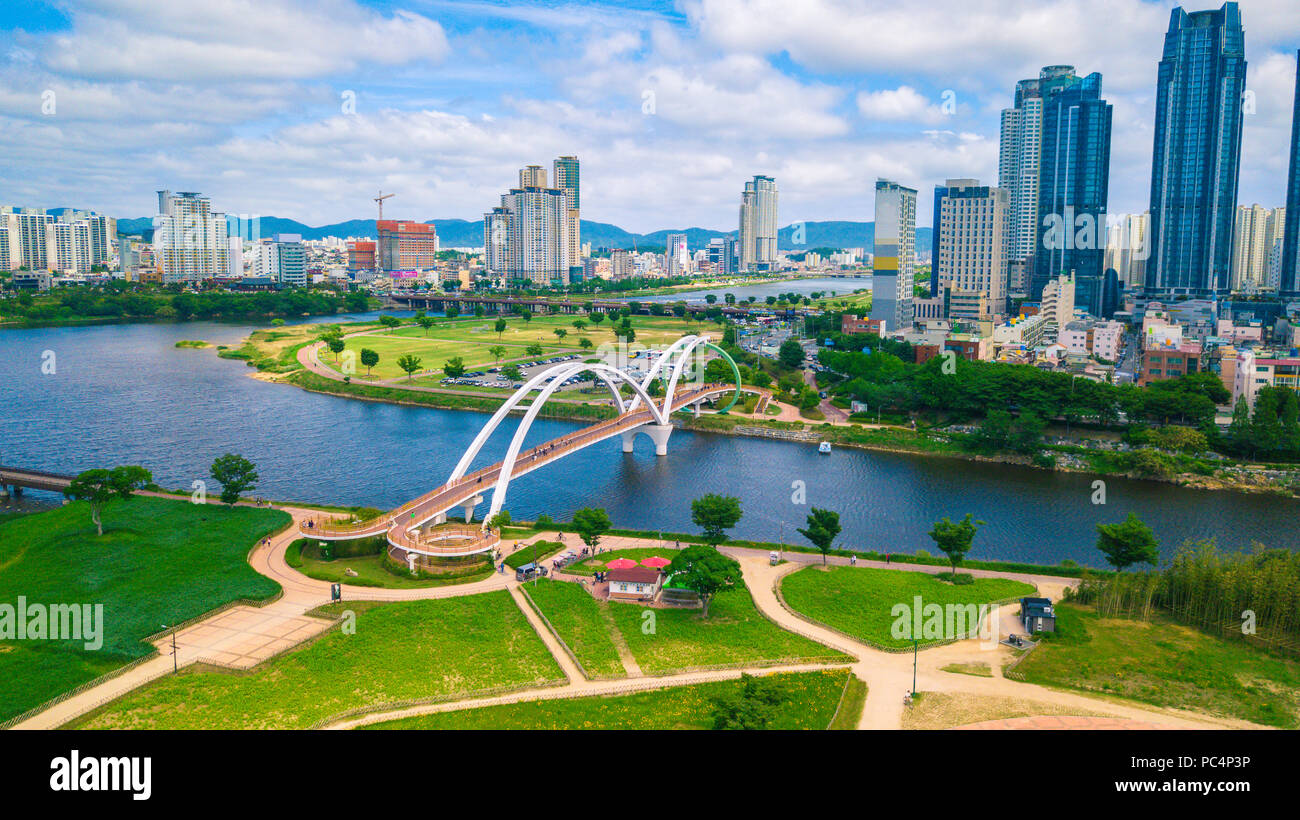 Aerial view of Taehwa riverside during Spring season in