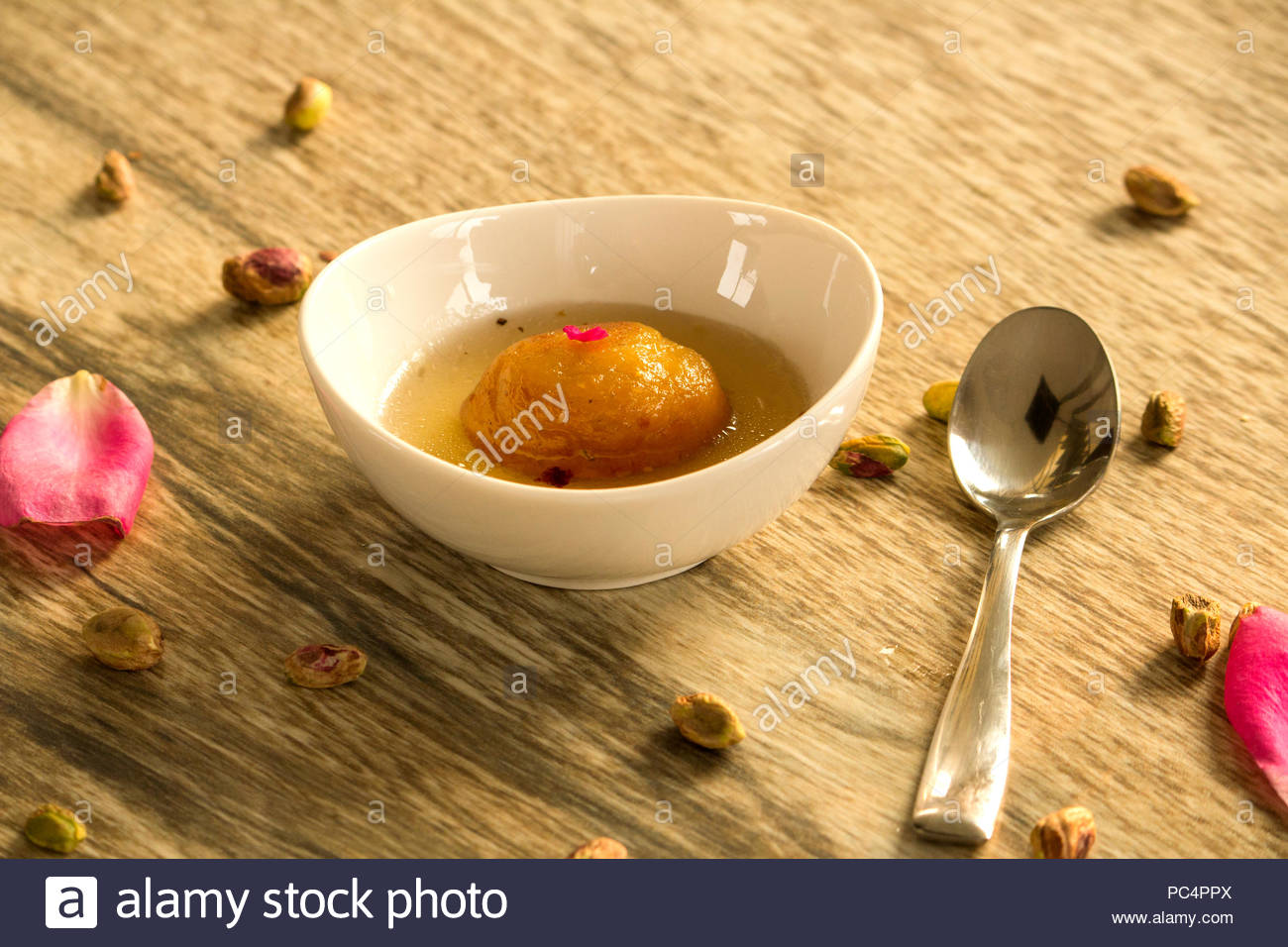 Soft, spongy, delicious mawa or khawa gulab jamun is one of the traditional sweet in India. - Stock Image