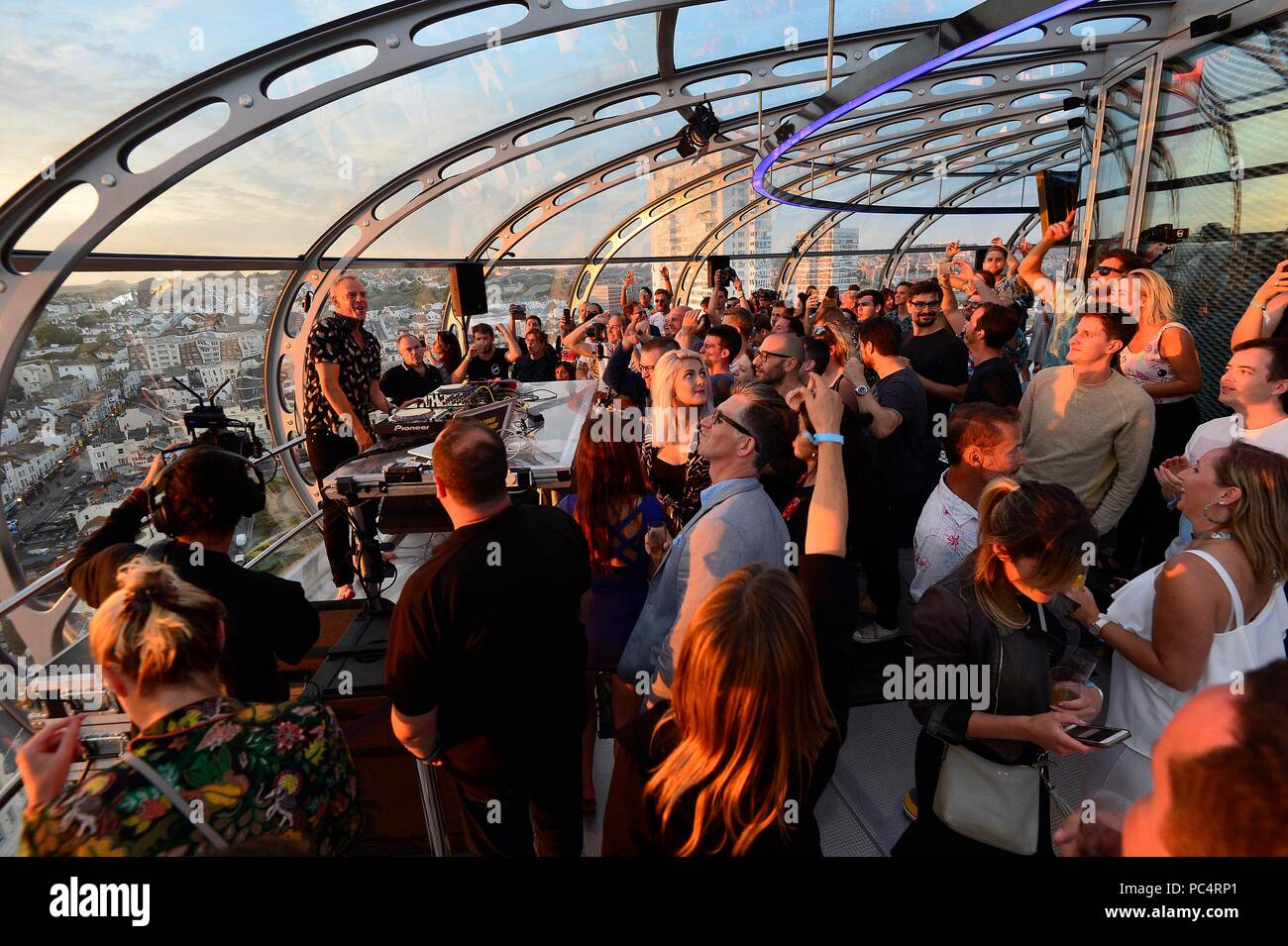 Fatboy Slim gig on the British Airways  i360 Brighton 1.2 million tuned in to a Facebook livestream. Picture:Terry Applin - Stock Image