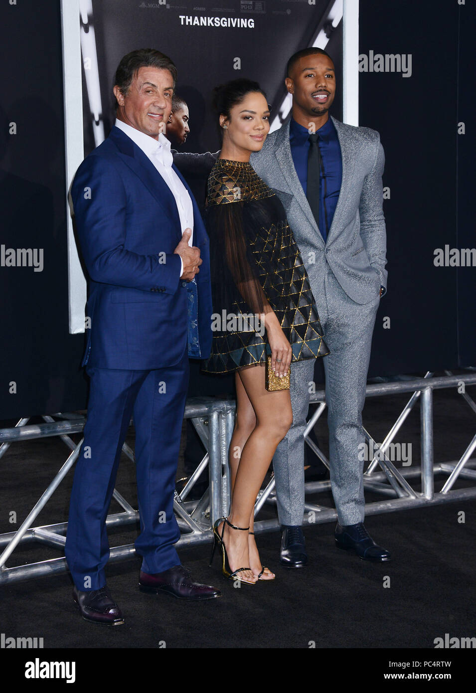 atributo Cornualles Muslo  Sylvester Stallone, Tessa Thompson, Michael B Jordan 143 at The Creed  Premiere at the Westwood Village Theatre in Los Angeles. November 19,  2015.a Sylvester Stallone, Tessa Thompson, Michael B Jordan 143 Event