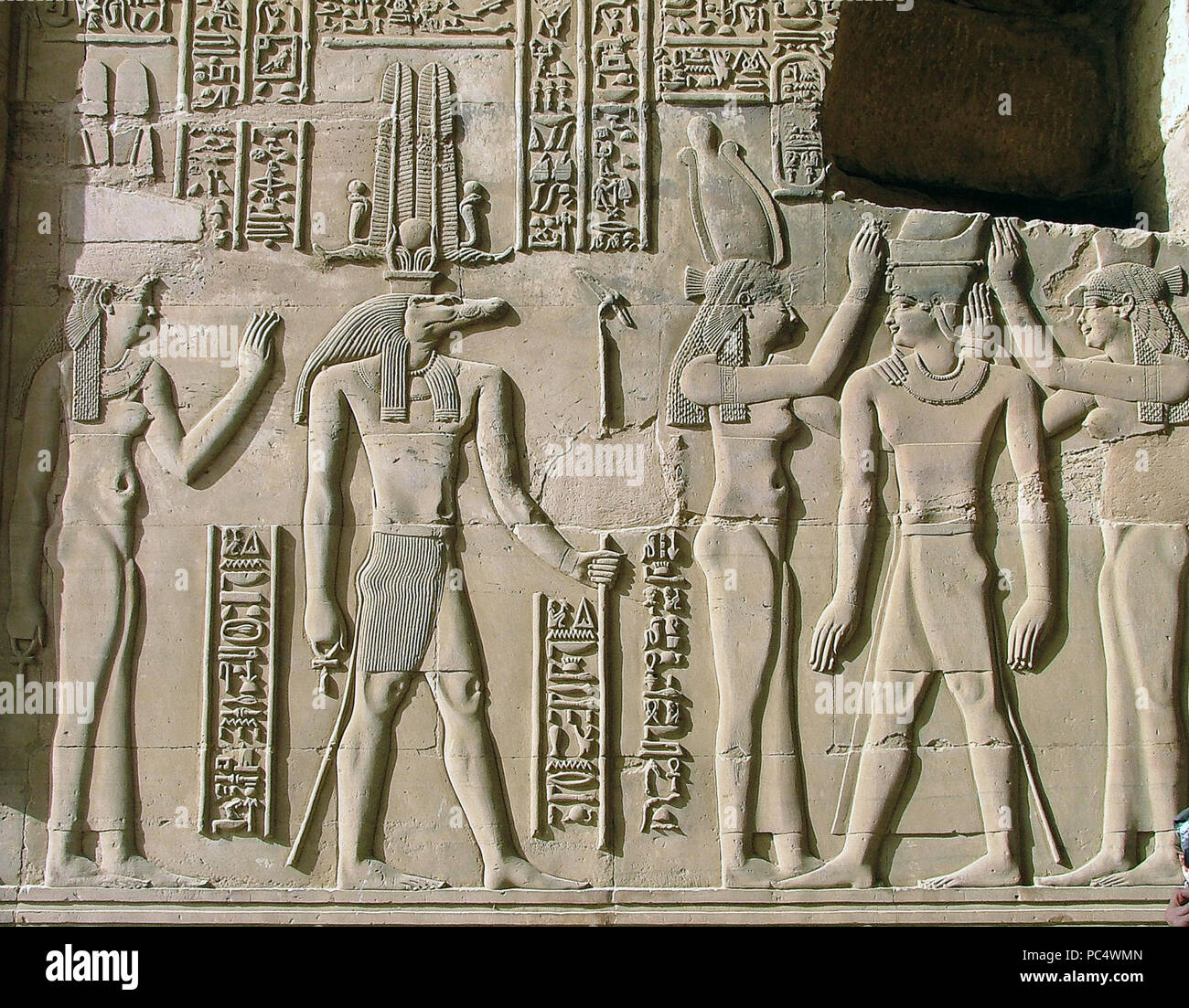 6278. Sobek, ancient Egyptian deity with a crocodile head, relief from the Kom Ombo temple, Egypt. Stock Photo