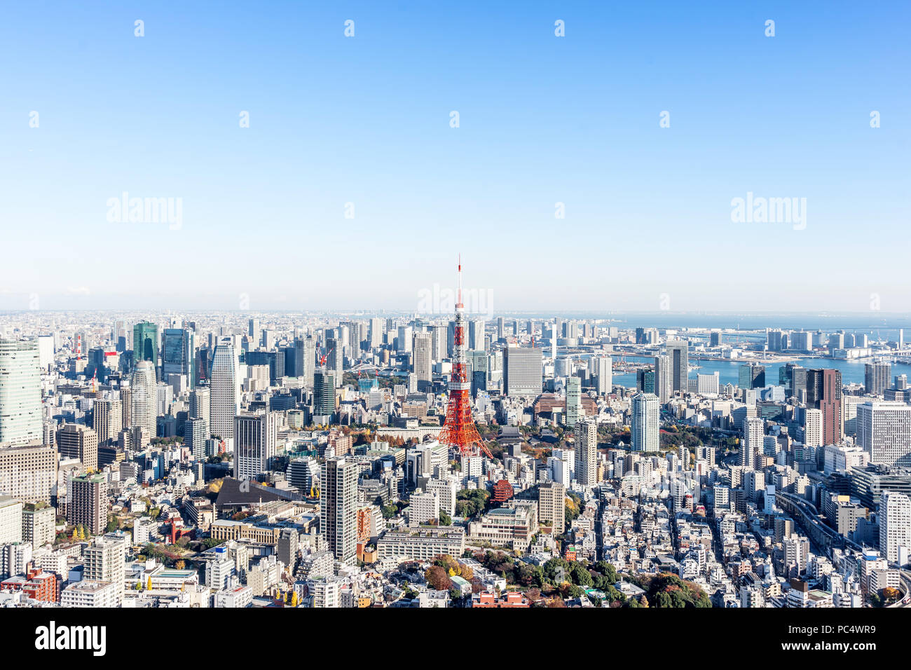 Asia Business concept for real estate and corporate construction - panoramic modern city skyline bird eye aerial view of tokyo tower and odaiba under  - Stock Image