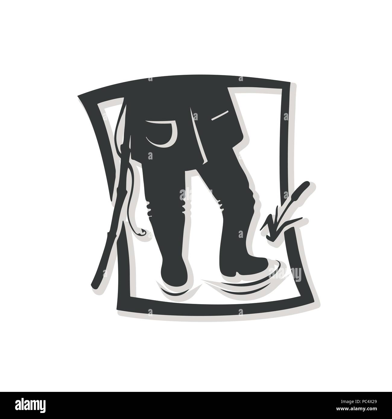 Silhouette of fisherman. Vector illustration. Logo of the fishing shop. - Stock Image