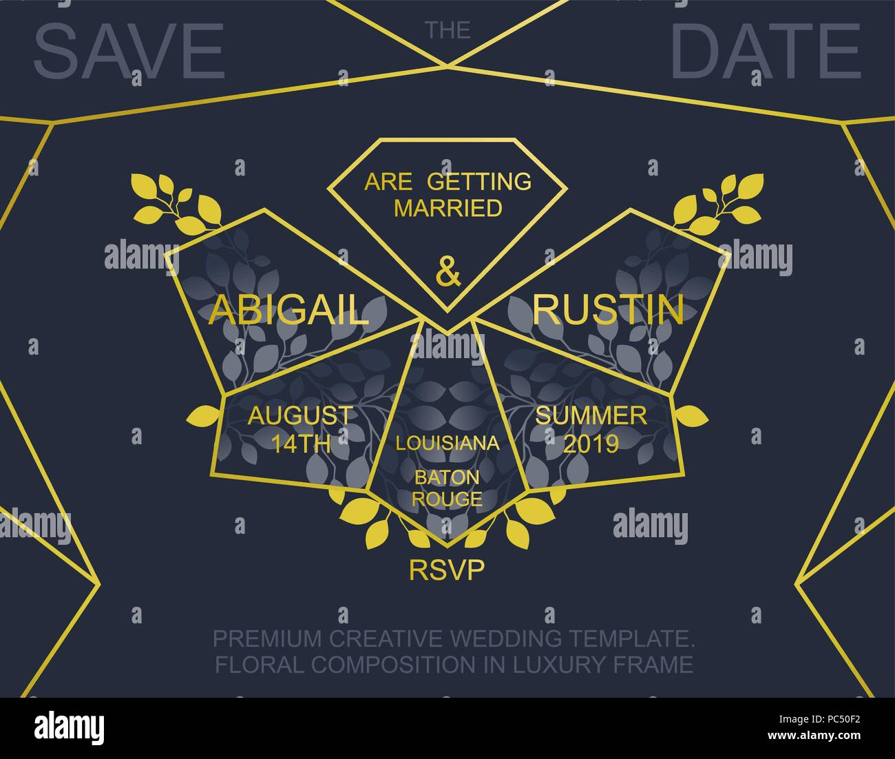 Premium wedding invitation luxury invite card design trendy golden premium wedding invitation luxury invite card design trendy golden polygonal frame and floral elements vector template stopboris Image collections