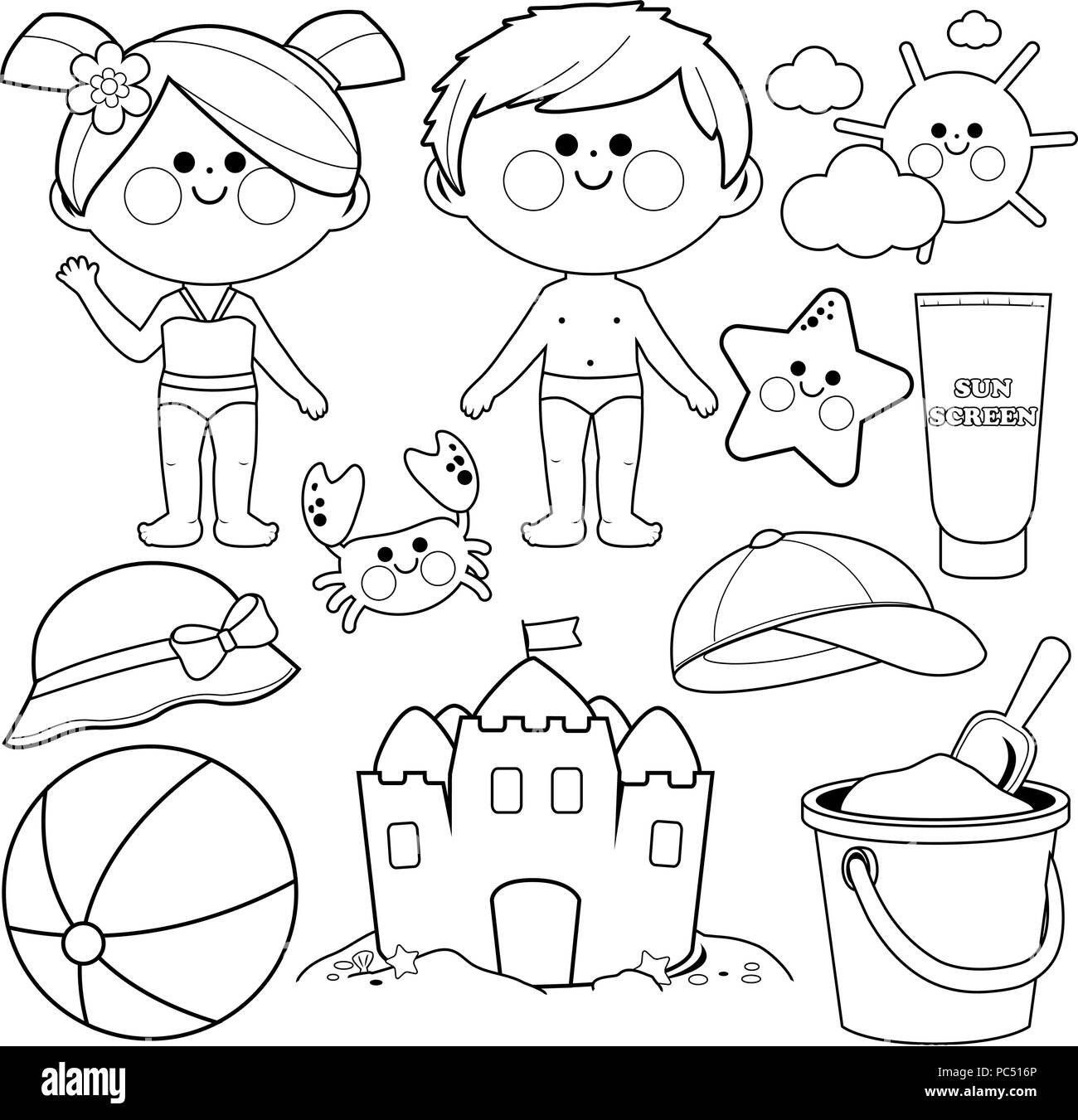 Children with swimsuits and beach summer vacation design elements black and white coloring book page
