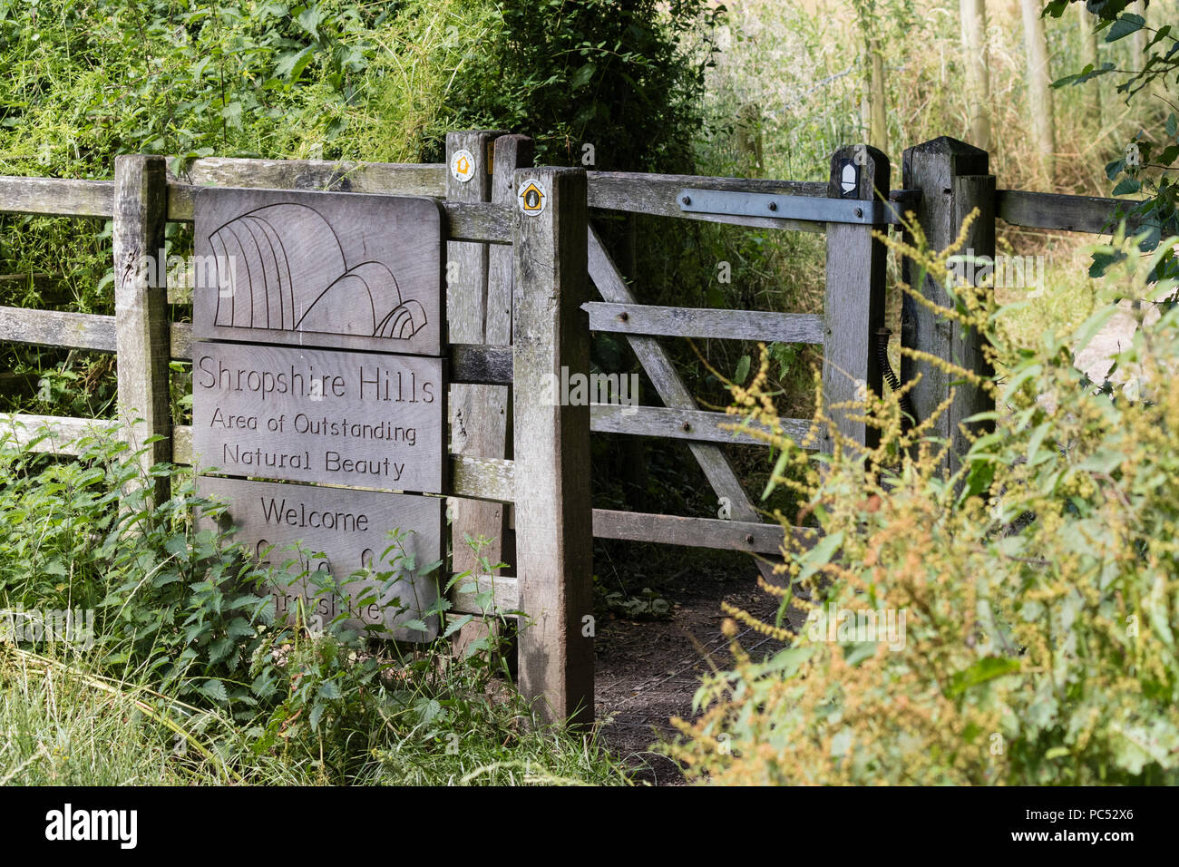 Offa's Dyke long distance footpath passes through a waymarked kissing gate and on into the Shropshire Hills Area of Outstanding Natural Beauty - Stock Image