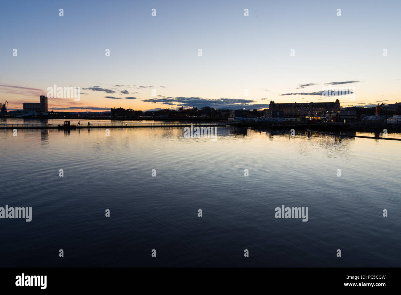 Panoramic view from the Bjørvika area, east of the center of Oslo at the sunset,Norway - Stock Image