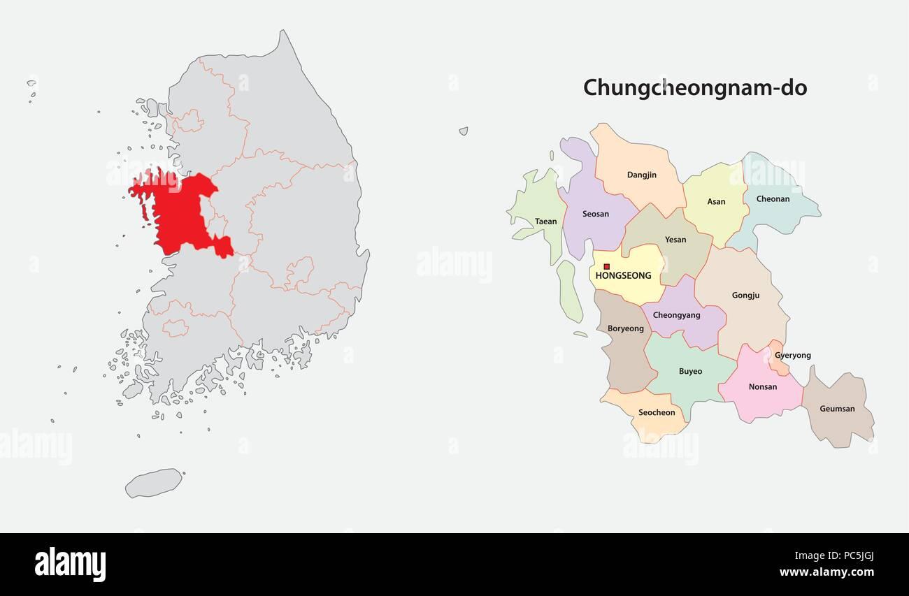 south korea chungcheong province map Stock Vector Art & Illustration ...