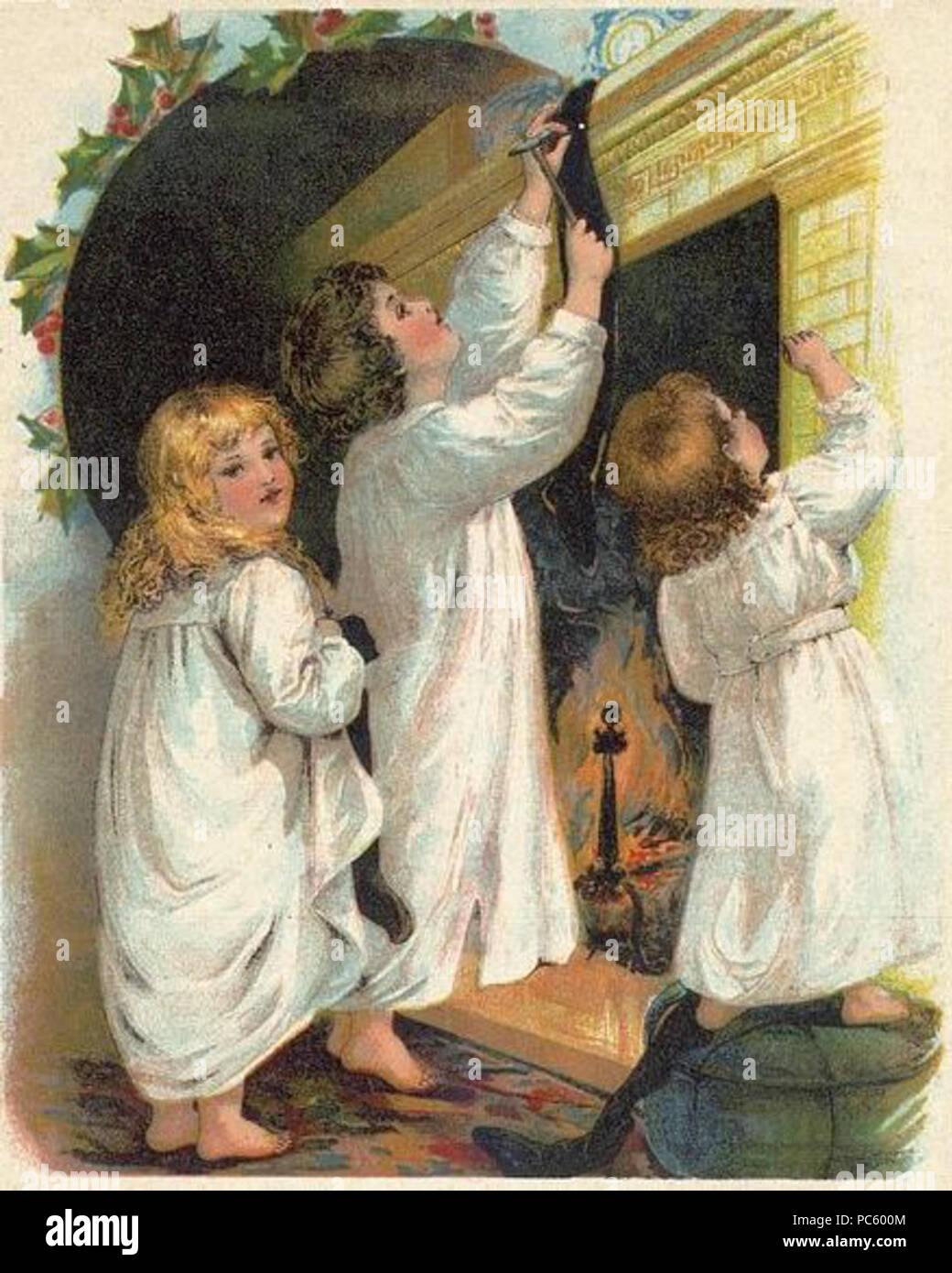 19 Children Hanging Christmas Stockings Stock Photo ...