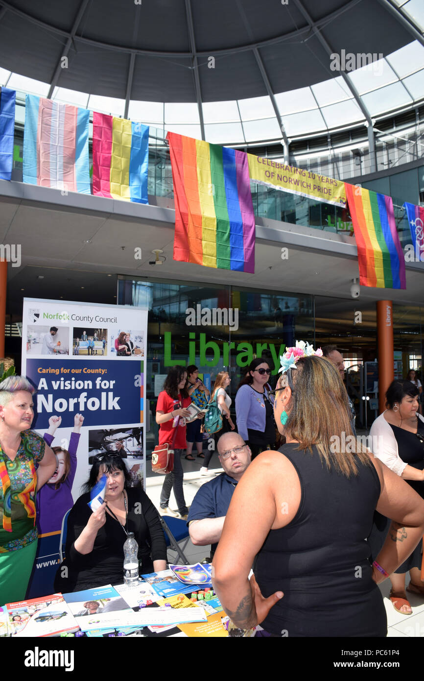 Norwich Pride, 28 July 2018 UK - Norfolk County Council stall promoting local services and fostering - Stock Image