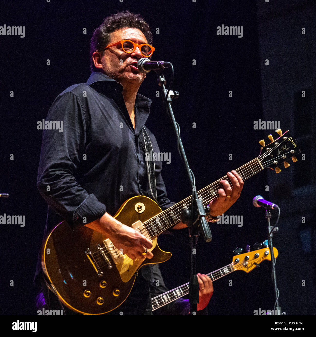 Trieste, Italy, 31 July 2018.  Mike Sponza in concert presenting his new album 'Made in the Sixties' in an open air, free concert at Trieste's piazza Verdi. Photo by Enrique Shore Credit: Enrique Shore/Alamy Live News - Stock Image