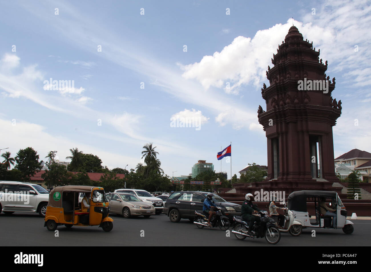 Phnom Penh, Cambodia  31st July, 2018  Vehicles run past the