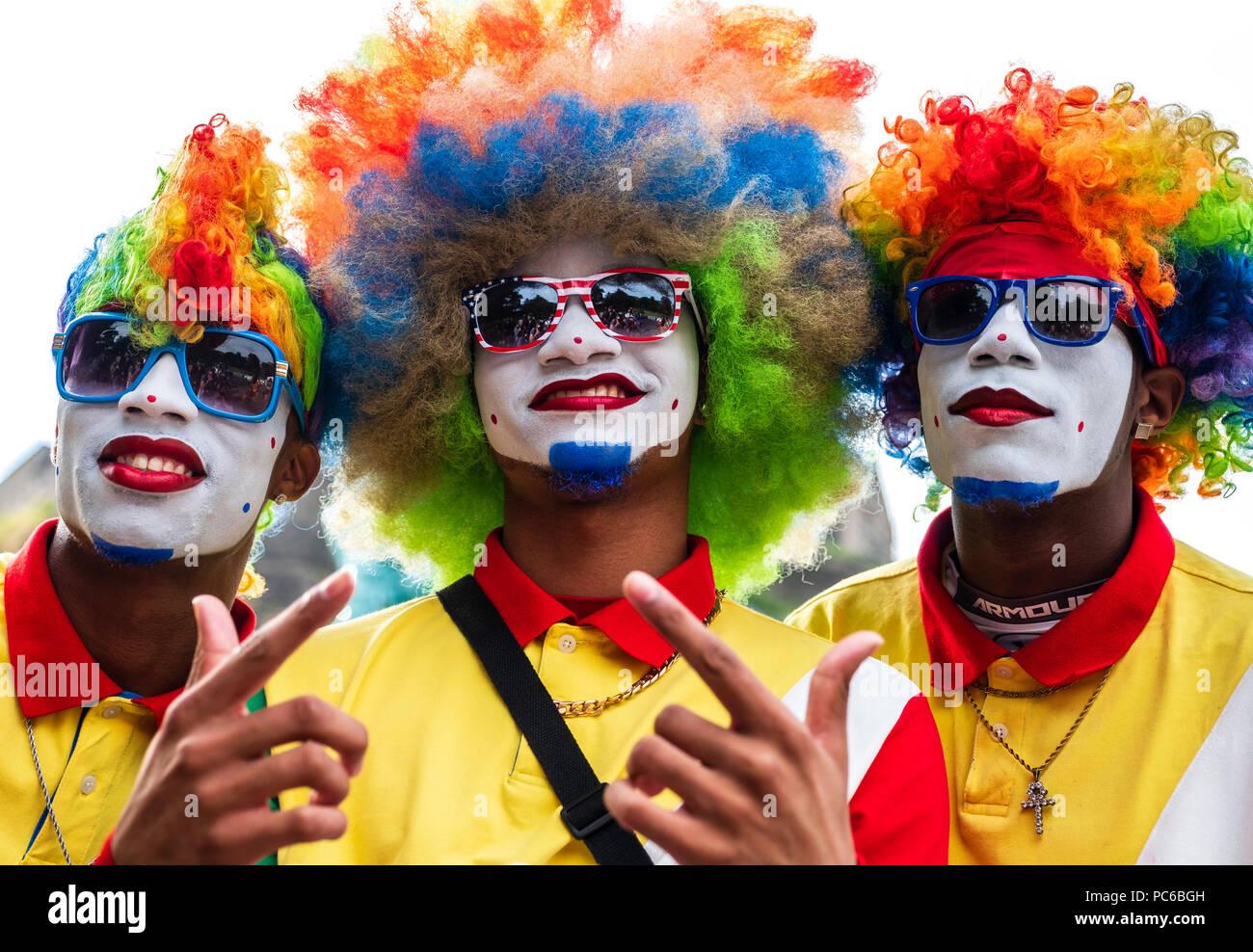 Edinburgh, Scotland, UK; 1 August, 2018. Fresh the Clownsss US internet hip hop dance sensations at opening day of Edinburgh Fringe Festival in Princes Street Gardens during photo call. Credit: Iain Masterton/Alamy Live News - Stock Image