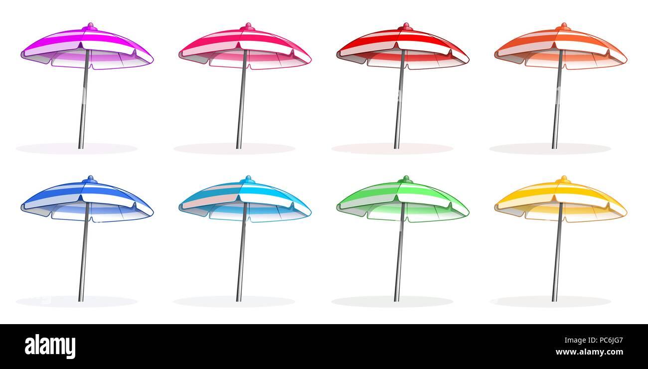 Bright colorfu multi-colored beach umbrellas set. Beach umbrella side view. Vector illustration isolated on white background - Stock Vector