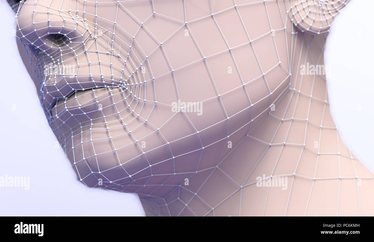 3d illustration of plastic surgery. Mesh and lines  in the skin and procedure to eliminate wrinkles. Anti-aging aesthetic medical treatment - Stock Image