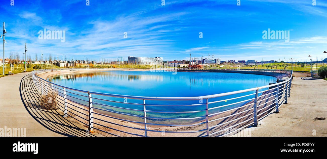 Cityscape.Architecture and sustainability.Lake in the park. Modern construction of urbanization. - Stock Image