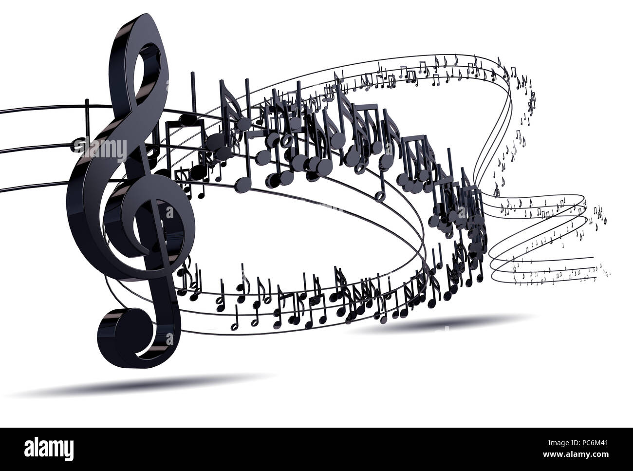 3d illustration of musical notes and musical signs of for Note musicali dwg