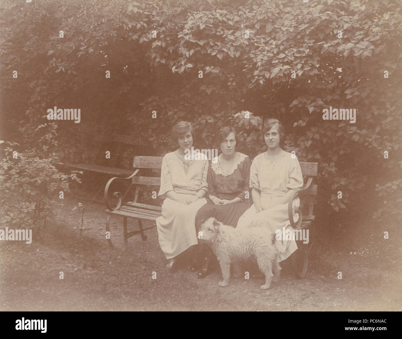Vintage Photograph of Three Ladies Sat on a Bench With Their Dog in The Garden at Forest Hill. Stock Photo
