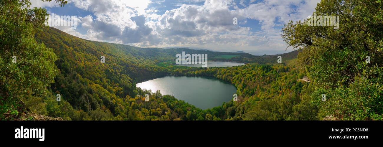 Panorama of Monticchio Lake in Basilicata, Italy. - Stock Image